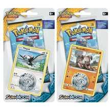 Pokemon Sole e Luna blister una busta con carta promo e moneta Pikipek/Rockruff