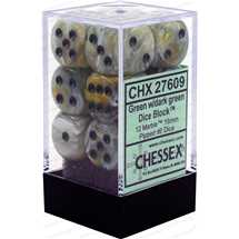 27609 16mm d6 Marble Green With / Dark Green