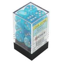 27766 Set of 12 16mm d6 Luminary™ Sky/silver Dice Block™