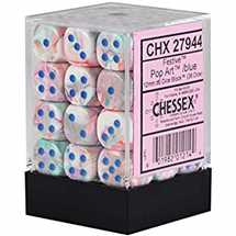 27944 Set 36 Dadi D6 (12 mm) Festive™ Pop Art™/blue Dice Block™