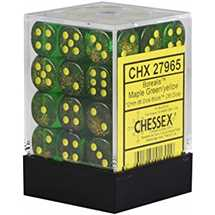 27965 Set 36 Dadi D6 (12 mm) Borealis™ Maple Green/yellow Dice Block™