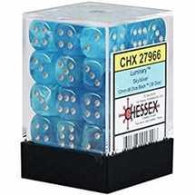 27966 Set 36 Dadi D6 (12 mm) Luminary™ Sky/silver Dice Block™