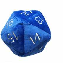 E-85856 UP - Dice - Jumbo D20 Novelty Dice Plush in Blue with Silver Numbering