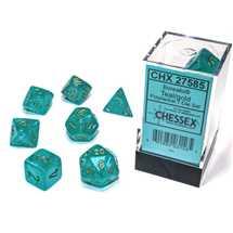 27585 Set di Dadi Borealis Polyhedral Luminary Teal/gold 7-Die Set