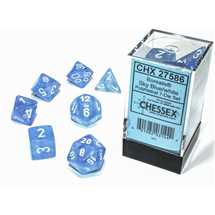 27586 Set di Dadi Borealis Polyhedral Luminary Sky Blue/white 7-Die Set