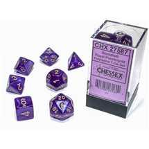 27587 Set di Dadi Borealis Polyhedral Luminary Royal Purple/gold 7-Die Set