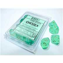 27375 Borealis Light Green/gold Luminary Set of Ten d10s