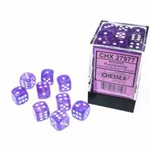 27977 Set 36 Dadi D6 (12mm) Borealis Purple/white Luminary