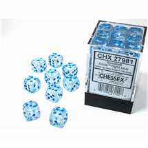 27981 Set 36 Dadi D6 (12mm) Borealis Icicle™/light blue Luminary