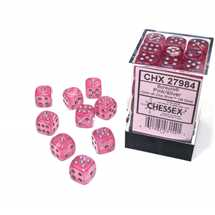 27984 Set 36 Dadi D6 (12mm) Borealis Pink/silver Luminary
