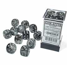 27778 Set 12 Dadi D6 (16mm) Borealis Light Smoke/silver Luminary