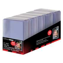 "E-15285 3"" X 4"" Super Thick 130PT Toploader with Thick Card Sleeves 50ct"