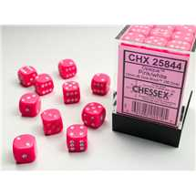 25844 36 Set Dice Opaque 12mm d6 Pink/white Dice Block