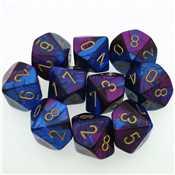 26228 Set 10 Dadi D10 Gemini Polyhedral Blue-Purple w/gold